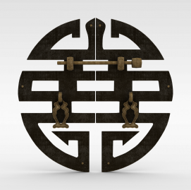 中式喜字<font class='myIsRed'>门把手</font>3d模型