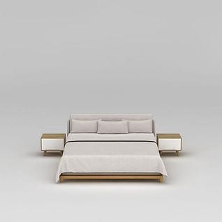 现代实木双人床3d模型3d模型