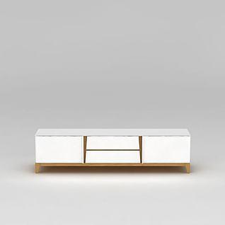 简约白色电视柜3d模型3d模型