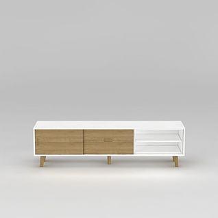 现代实木拼色电视柜3d模型3d模型