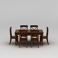 现代实木餐桌餐椅套装3D模型3d模型