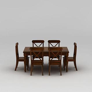 现代实木餐桌餐椅套装3d模型