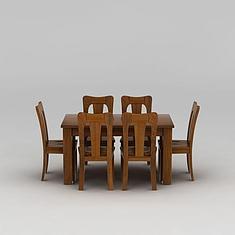 中式实木餐桌餐椅套装3D模型3d模型