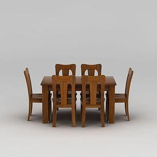 中式实木餐桌餐椅套装3d模型