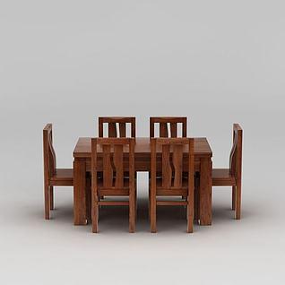 现代白蜡木餐桌餐椅组合3d模型