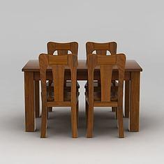 中式餐桌餐椅组合3D模型3d模型