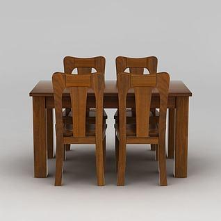 中式餐桌餐椅组合3d模型