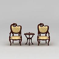 现代实木休闲椅3D模型3d模型