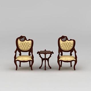 现代实木休闲椅3d模型
