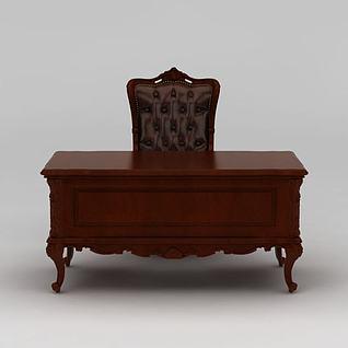 现代红木办公书桌3d模型