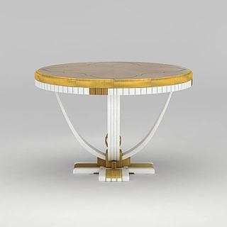 现代金色圆桌<font class='myIsRed'>餐桌</font>3d模型