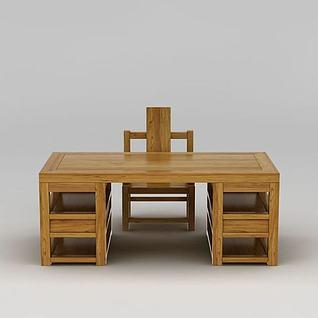 中式实木写字台桌椅组合3d模型