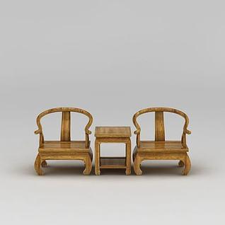 中式?#30340;?#29275;角桌椅套装3d模型
