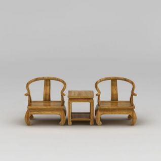 中式实木牛角桌椅套装3d模型