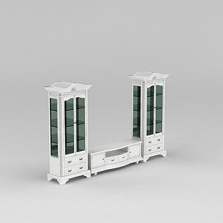 欧式白色实木雕花电视柜3d模型3d模型