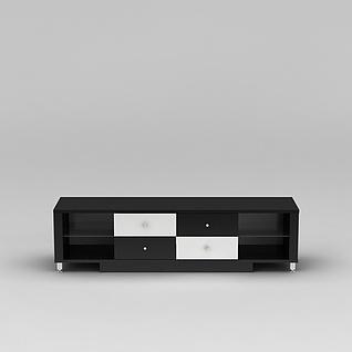 现代黑白拼色实木电视柜3d模型3d模型