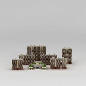 高檔小區建筑樓模型3d模型