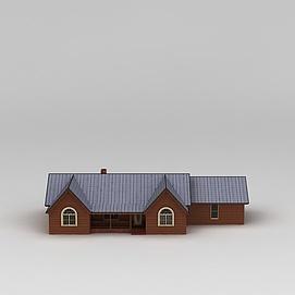 3d欧式木屋别墅模型