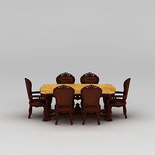中式实木雕花餐桌餐椅组合3d模型