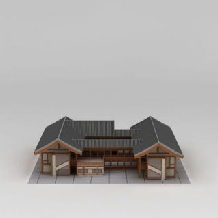 日式木屋建筑3d模型3d模型