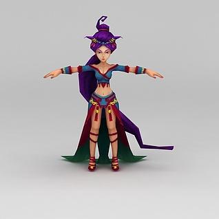 Q版小鱼儿与花无缺游戏角色女人3d模型3d模型