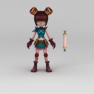 Q版小鱼儿与花无缺游戏角色女孩3d模型