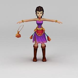 Q版小鱼儿与花无缺游戏角色女人3d模型