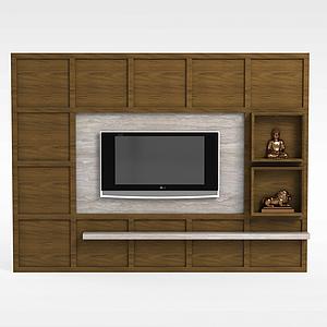 现代客厅电视柜背景墙模型3d模型