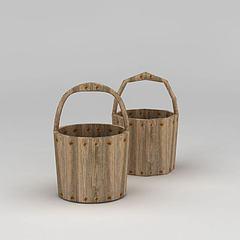 复古木桶模型3d模型