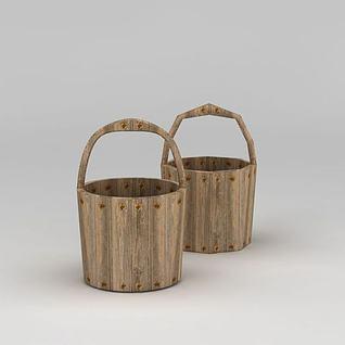 复古木桶3d模型