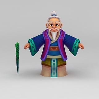 Q版小鱼儿与花无缺游戏人物白胡子老头3d模型