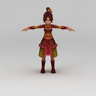 Q版小鱼儿与花无缺游戏人物女孩3d模型3d模型