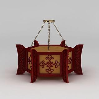 中式红灯笼吊灯3d模型3d模型
