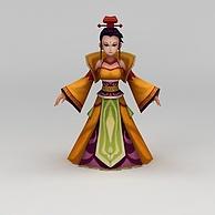 Q版小鱼儿与花无缺游戏人物女人3D模型3d模型