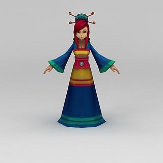 Q版小鱼儿与花无缺游戏人物女人3d模型