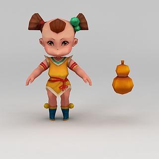 Q版小鱼儿与花无缺游戏人物小孩3d模型