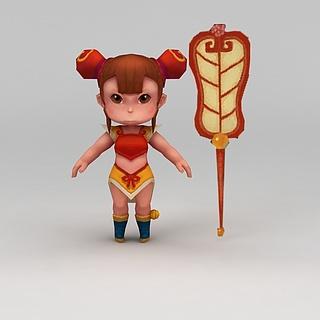 Q版小鱼儿与花无缺游戏人物小女孩3d模型
