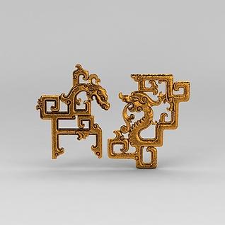 中式窗棱龙形雕花3d模型
