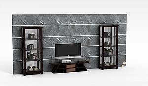 现代客厅电视背景墙模型3d模型