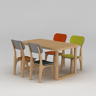 现代实木桌椅3d模型