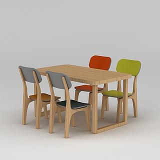 现代<font class='myIsRed'>实木桌椅</font>3d模型