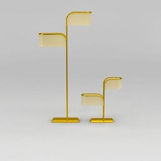 现代金色落地灯台灯组合3d模型