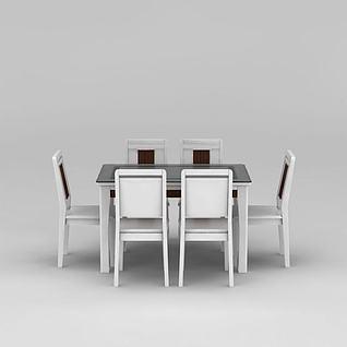 现代白色餐桌餐椅组合3d模型
