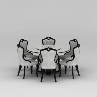 现代欧式圆形餐桌椅3d模型