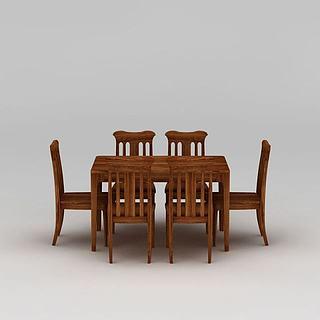 现代实木家居餐桌椅3d模型