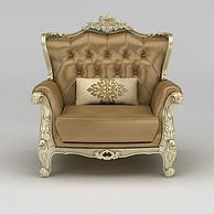 豪华欧式单人沙发3D模型3d模型