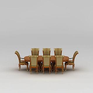 欧式多人餐桌餐椅3d模型