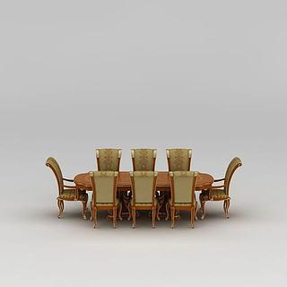 欧式多人餐桌<font class='myIsRed'>餐椅</font>3d模型