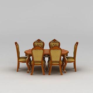 欧式雕花餐桌餐椅3d模型