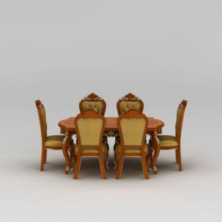 欧式雕花餐桌<font class='myIsRed'>餐椅</font>3d模型